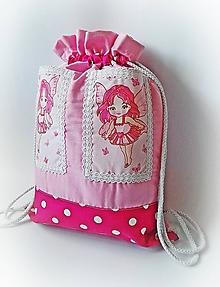 Detské tašky - Detský batoh, ruksak, vak - Motýlia víla (s vreckami) - 10458623_