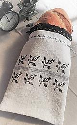 Úžitkový textil - Ľanové vrecko na menší chlieb a pečivo z ručne tkaného slovenského ľanu 32 x 21cm - 10459469_