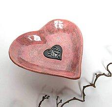 Nádoby - Keramická miska - srdce ružové - 10456636_