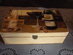 Iné - Krabička vinná - sklenička a láhev - 10459677_