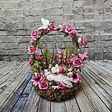 Dekorácie - Veľkonočný aranžmán v tmavoružovom / Tajomná Záhrada - 10457557_
