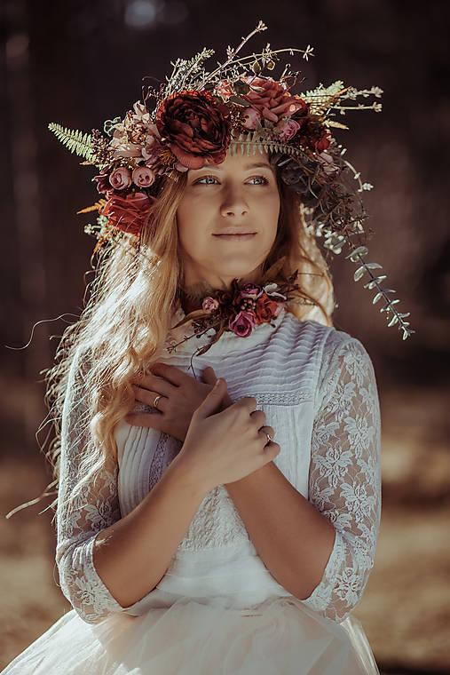 Iné doplnky - Kvetinový choker ,, bordový,, - 10458245_