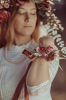 Iné doplnky - Kvetinový náramok ,,bordový,, - 10458270_