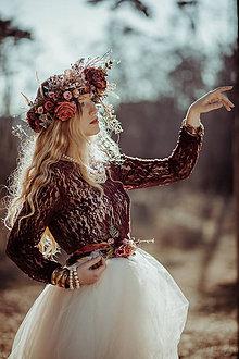 Opasky - Kvetinový opasok ,,bordový,, - 10458284_