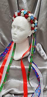 Ozdoby do vlasov - Farebná kvetinová parta na redový s folkovými stuhami - 10458395_