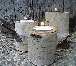 Svietidlá a sviečky - Brezové svietniky / 3ks - 10459493_