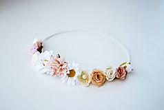 Ozdoby do vlasov - Béžová elastická čelenka s kvetinami - 10459346_