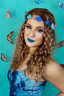 Ozdoby do vlasov - Modrá elastická čelenka s kvetinami - 10459710_