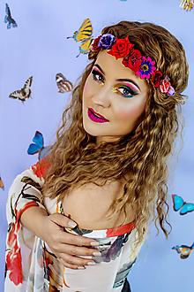 Ozdoby do vlasov - Červená elastická čelenka s kvetinami - 10460585_