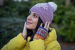 Rukavice - fialovo-zelené srdiečka1 - 10458819_