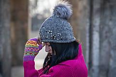Rukavice - žlto-fialové vzorované rukavice - 10460405_