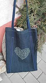 Nákupné tašky - Rifľová taška s folklórnou výšivkou - 10459853_