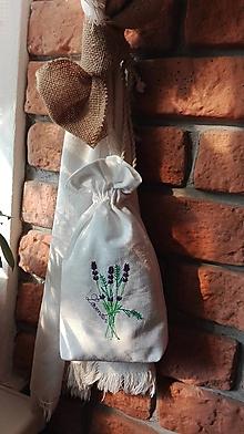 Úžitkový textil - Bavlnené vrecká plnené levanduľou s výšivkou levandule - 10459381_