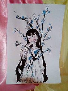 Kresby - Dievča a kvety - pocit - 10459833_