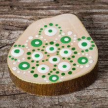 Magnetky - Magnetka - bodky - zeleno-biele - 10460505_