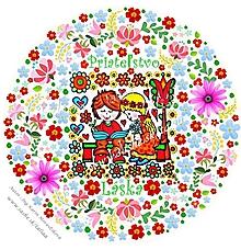 Kresby - Maľovaný obrázok dievčatko a chlapec - 10456528_