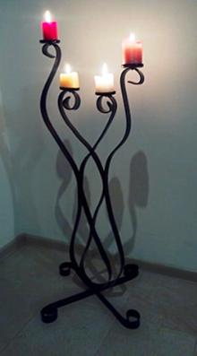 Svietidlá a sviečky - Svietnik kovový veľký (Šedá) - 10459687_