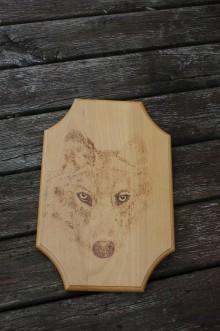Obrázky - Dreveny obraz vlk - 10458004_