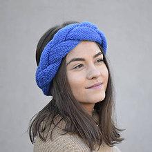 Čiapky - PrePletená čelenka...modrá - 10460149_