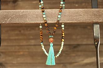 Náhrdelníky - Mala náhrdelník z minerálov tigrie oko, regalit, jadeit - 10458279_