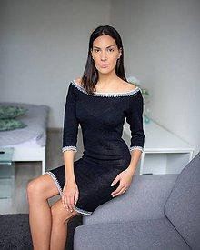 Šaty - Úpletové šaty bavlnené s krajkou - 10459360_