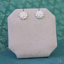 Náušnice - Minizetky (Biele s odleskami) - 10459347_