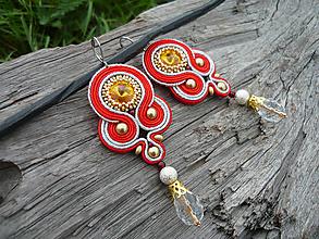 Náušnice - Soutache náušnice NEW FOLK červeno-strieborno-zlaté - 10463291_
