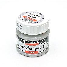 Farby-laky - Akrylová farba, matná, 50 ml, Pentart (sivá) - 10460852_