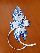 Pierka - ľudové, folklórne  pierko pre rodičov s modrým ornamentom - 10462033_