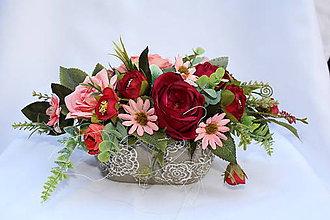 Dekorácie - kvetinová dekorácia v keramickom kvetináčiku - 10463203_
