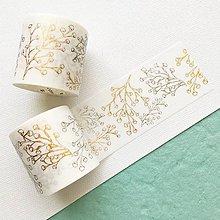 Papier - exkluzívna dekoračná papierová páska Strieborno-zlaté listy (Zlatá) - 10460984_