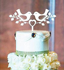 Dekorácie - Svadobné vtáčiky na tortu (Strieborná) - 10460691_