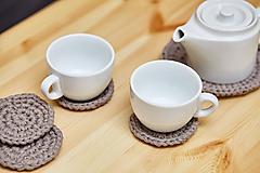 Úžitkový textil - Svetlo-hnedá podložka pod čajník s podšálkami - 10463859_