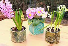 Nádoby - Hranatý kvetináč - tyrkysová jar - 10462655_