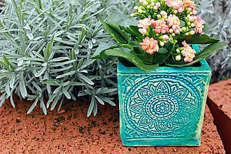 Nádoby - Hranatý kvetináč - tyrkysová jar - 10462656_