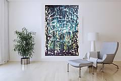 Obrazy - Moonlight in the lake  - XL modro- strieborný, zlatý abstrakt - 10462437_