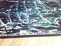 Obrazy - Moonlight in the lake  - XL modro- strieborný, zlatý abstrakt - 10462438_