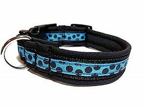 Pre zvieratká - Obojok Čierna bodka na modrej - 10462244_