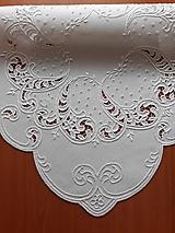 Úžitkový textil - Richellieu, Listy a drobné kvety, biela,  53 x 53 cm - 10461329_