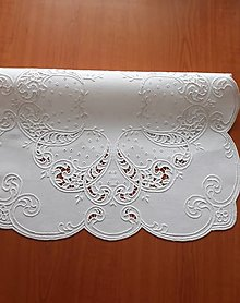 Úžitkový textil - Richellieu, Listy a drobné kvety, biela,  53 x 53 cm - 10461321_