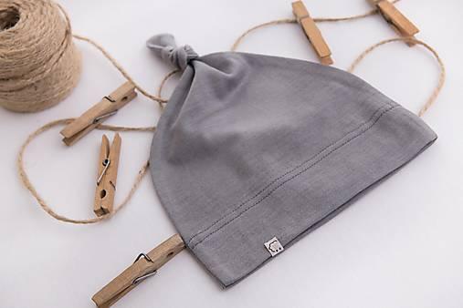 Detská rastúca merino čiapka so štýlovým uzlíkom - šedá (34)