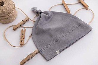 Detské čiapky - Detská rastúca merino čiapka so štýlovým uzlíkom - šedá - 10460631_