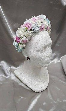 Ozdoby do vlasov - Nežná kvetinová čelenka vromantických pastelových farbách - 10463005_