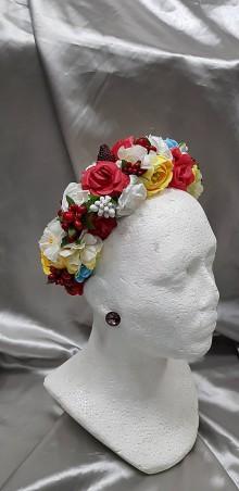 Ozdoby do vlasov - Farebná kvetinová čelenka - 10463051_