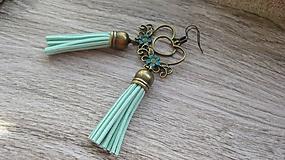 Náušnice - Bronzové náušničky so strapcami (mentolové, č. 2579) - 10462312_