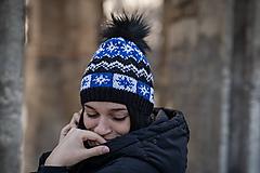 Čiapky - čierno-bielo-modrá - 10462886_