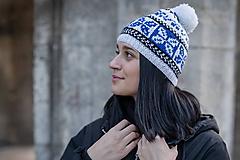 Čiapky, čelenky, klobúky - bielo-modro-čierna - 10462917_