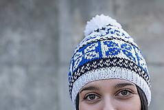 Čiapky - bielo-modro-čierna - 10462921_