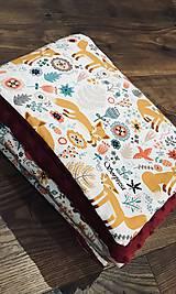 Textil - Minky deka kamarátka líška ❤️   (Bordová) - 10460628_