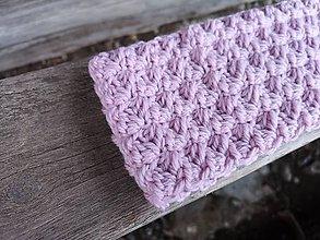 Čiapky - Háčkovaná čelenka MISTY (65% vlna & 35% alpaka) (svetlá ružová) - 10460615_